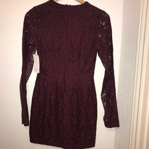 Women's Tobi Maroon Long Sleeves Embroider Dress